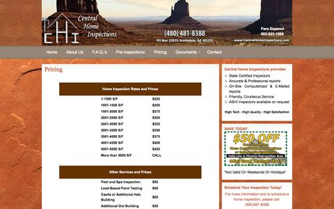 Screenshot of Pricing Page centralhomeinspections.com - Phoenix home inspection, Scottsdale home inspector, Mesa home inspections, home inspection Scottsdale, home inspections Phoenix, Phoenix Home Inspector - captured Sept. 29, 2014