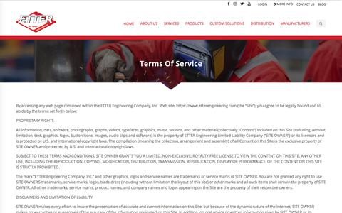 Screenshot of Terms Page etterengineering.com - Terms Of Service - Etter Engineering Company - captured Aug. 10, 2019