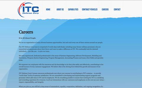 Screenshot of Jobs Page itcdefense.com - Careers - captured Oct. 6, 2014