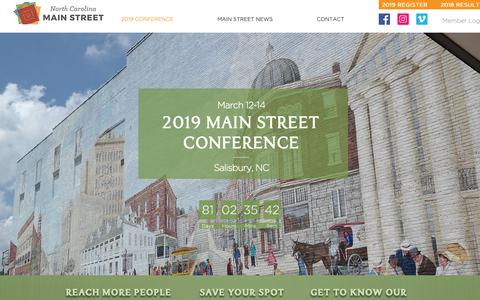 Screenshot of Home Page ncmainstreetconference.com - NC Main Street Center | United States | NC Main Street Conference - captured Dec. 21, 2018