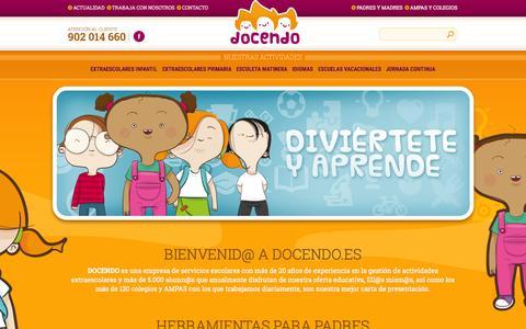 Screenshot of Home Page docendo.es - ACTIVIDADES EXTRAESCOLARES EN VALENCIA ALICANTE Y CASTELLON , FIESTAS INFANTILES, ANIMACIONES Y TALLERES DE FORMACIÓN PARA TODA LA COMUNIDAD ESCOLAR.CURSO DE MONITOR IVAJ - captured Sept. 16, 2015