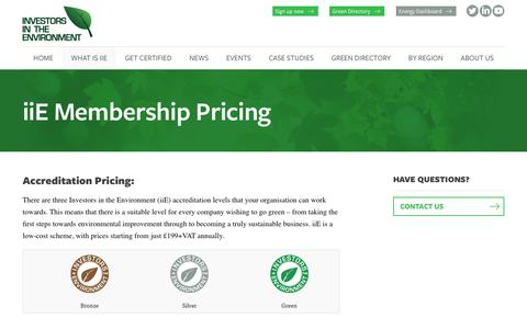 Screenshot of Pricing Page iie.uk.com - iiE Membership Pricing | Investors in the Environment - captured Oct. 15, 2017