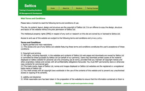 Screenshot of Terms Page seltics.co.uk - Web Terms and Conditions - captured Oct. 7, 2014