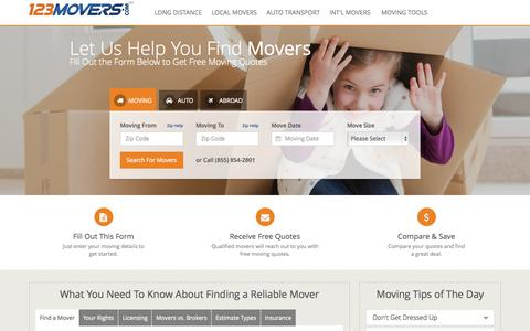 Screenshot of Home Page 123movers.com - Find Movers - Nationwide Moving Companies and Local Movers - 123Movers.com - captured Aug. 5, 2015