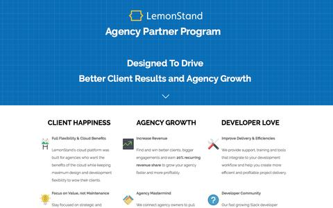 Screenshot of Landing Page lemonstand.com - LemonStand Agency Partner Program - captured Aug. 19, 2016