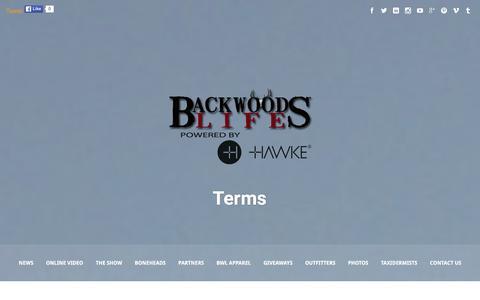 Screenshot of Terms Page southernbackwoods.com - Terms | BackwoodsLife.com - captured Jan. 21, 2016