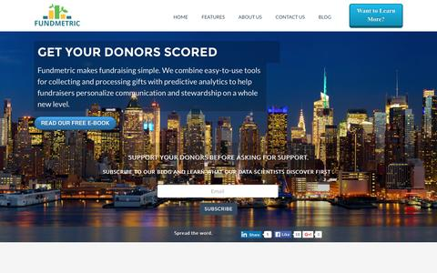 Screenshot of Home Page fundmetric.com - Persuade Donors Like Never Before - captured March 23, 2016