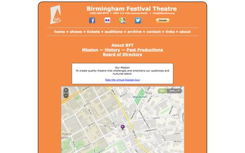 Screenshot of About Page bftonline.org - Birmingham Festival Theatre - captured Oct. 5, 2014