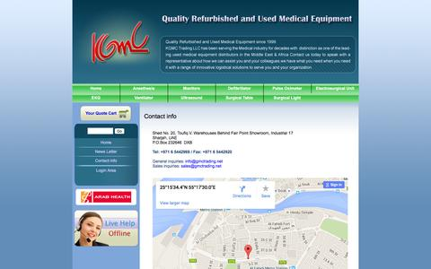 Screenshot of Products Page gmctrading.net - Contact info | Refurbished and Used Medical Equipment Company, Operating Room Equipment | KGMC Trading LLC - captured Feb. 12, 2016