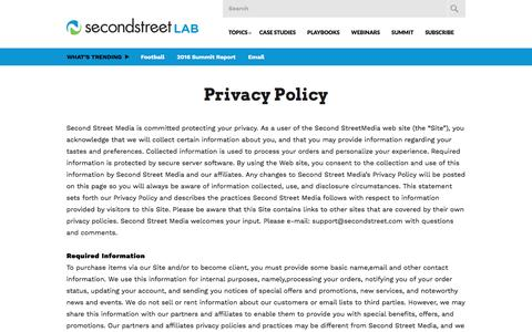 Screenshot of Privacy Page secondstreet.com - Privacy Policy | Second Street Lab - captured Oct. 7, 2016