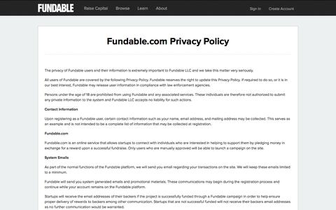 Privacy Policy | Fundable