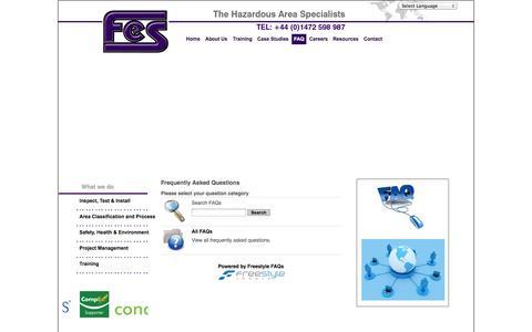 Screenshot of FAQ Page fes-ex.com - FES: Hazardous Area Specialists  - FAQ - captured Oct. 4, 2014