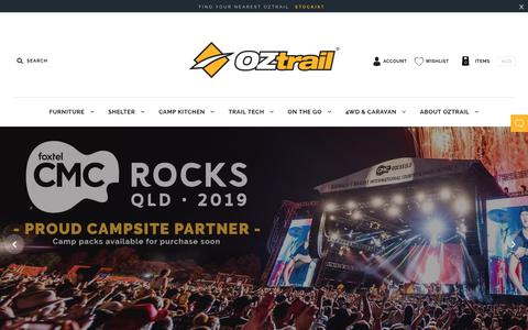 Screenshot of Home Page oztrail.com.au - OZtrail - Outdoor and Camping Equipment - captured Oct. 15, 2018