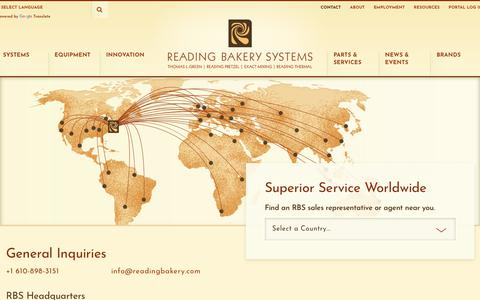 Screenshot of Contact Page readingbakery.com - Contact - Reading Bakery Systems - captured Oct. 19, 2018