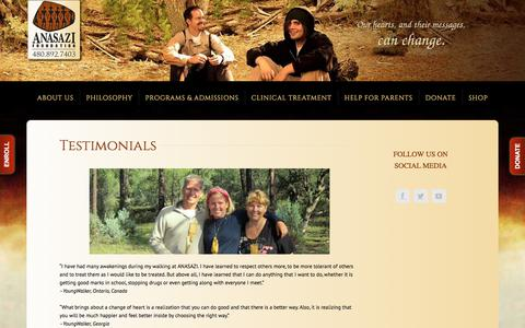 Screenshot of Testimonials Page anasazi.org - Testimonials – ANASAZI Foundation - captured April 7, 2018