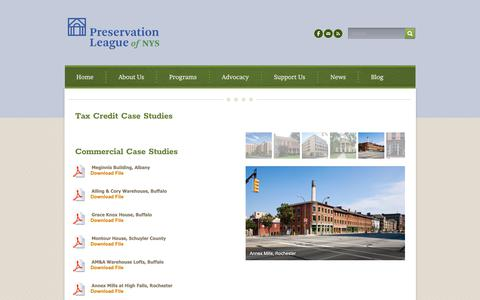 Screenshot of Case Studies Page preservenys.org - Case Studies - Preservation League of New York State - captured Sept. 29, 2018