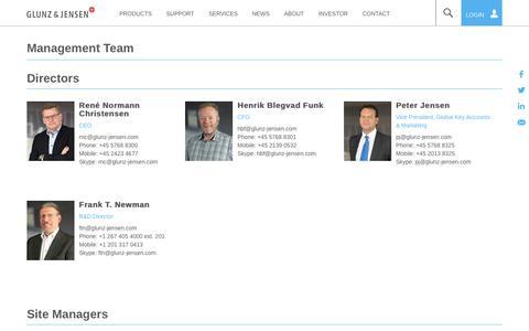 Screenshot of Team Page glunz-jensen.com - Management Team   Glunz & Jensen - captured Nov. 5, 2018