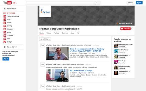 Screenshot of YouTube Page youtube.com - eForHum Corsi Cisco e Certificazioni  - YouTube - captured Oct. 23, 2014