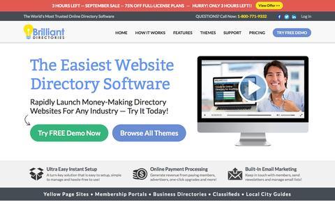 Screenshot of Home Page brilliantdirectories.com - Website Directory Software - Directory Script - Directory Template - captured Oct. 1, 2015