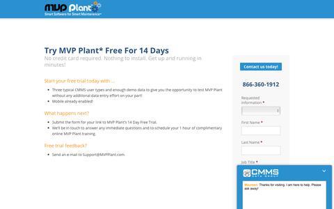 Screenshot of Trial Page mvpplant.com - CMMS Software - PM Software - Maintenance Software | MVP Plant Try MVP Plant* Free For 14 Days - captured Nov. 20, 2018
