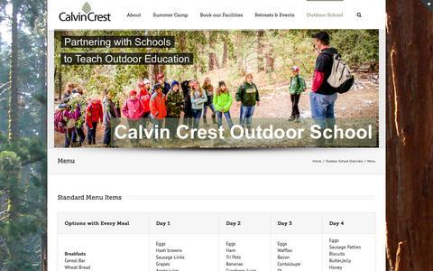 Screenshot of Menu Page calvincrest.com - Calvin Crest   –  Menu - captured Oct. 1, 2014