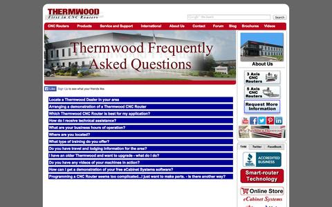 Screenshot of FAQ Page thermwood.com - Frequently Asked Questions - Thermwood Corporation - captured Oct. 9, 2014
