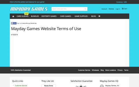 Screenshot of Terms Page maydaygames.com - Terms of Use for Mayday Games - captured Jan. 17, 2016