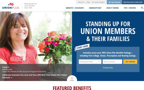 Screenshot of Home Page unionplus.org - Union Plus benefits for AFL-CIO labor union members. - captured Oct. 18, 2018