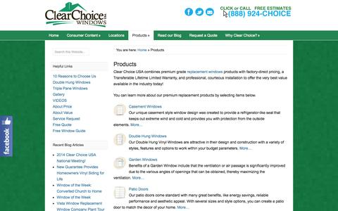 Screenshot of Products Page clearchoice-usa.com - Products - Replacement Windows from Clear Choice USA - captured Sept. 29, 2014