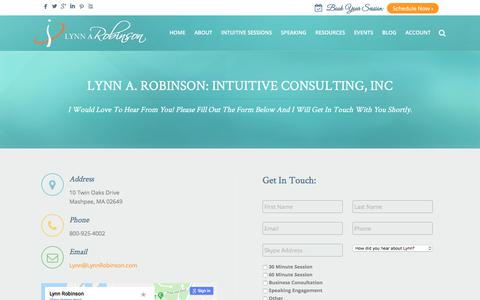 Screenshot of Contact Page lynnrobinson.com - Contact - Lynn Robinson - captured Sept. 23, 2018