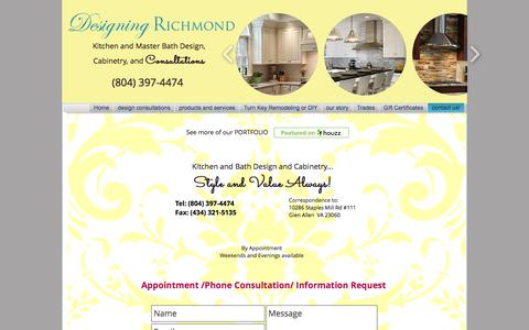 Screenshot of Contact Page designingrichmond.com - Designing Richmond Contact Info - captured June 4, 2017