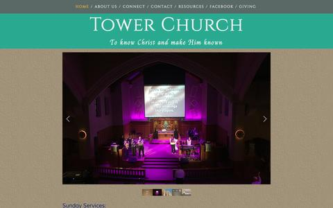Screenshot of Home Page towerchurch.org - Tower Church - captured June 19, 2016