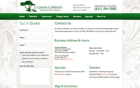 Screenshot of Contact Page cypresscab.com - Contact Us | Cypress Cabinets - captured Oct. 3, 2014