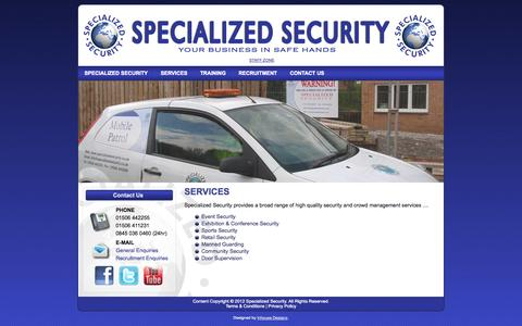 Screenshot of Services Page specializedsecurity.co.uk - SERVICES | Specialized Security - captured Sept. 30, 2014