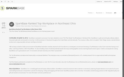 Screenshot of Press Page sparkbase.com - Blog - SparkBase - captured July 20, 2014