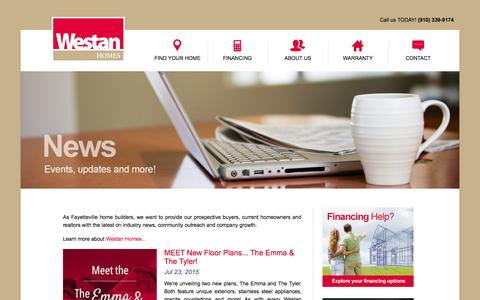 Screenshot of Press Page westanhomes.com - Fayetteville NC Home Builders | Westan Homes News and Events - captured Aug. 15, 2015