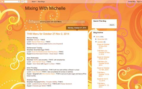 Screenshot of Menu Page mixingwithmichelle.blogspot.com - Mixing With Michelle: Menu - captured Nov. 3, 2014