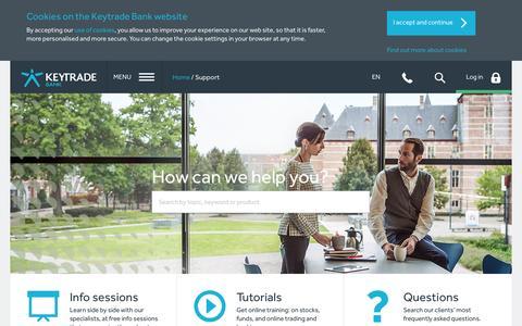 Screenshot of Support Page keytradebank.be - Keytrade Bank | Support - captured Oct. 29, 2014