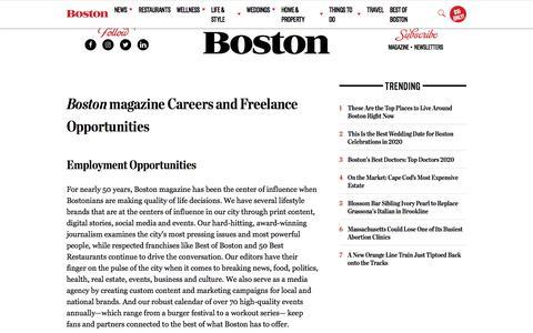Screenshot of Jobs Page bostonmagazine.com - Careers, Internships, and Freelancing   Apply for Jobs at Boston Magazine - captured Jan. 8, 2020