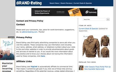 Screenshot of Privacy Page Contact Page brandeating.com - Brand Eating: Contact and Privacy Policy - captured Oct. 3, 2018