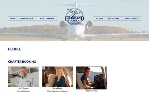 Screenshot of Team Page heartlandaviation.com - People, Heartland Aviation | Air Charter, Aircraft Maintenance, FBO Services - captured Nov. 10, 2018