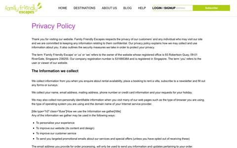 Screenshot of Privacy Page family-friendlyescapes.com - Privacy Policy - Family Friendly Escapes - captured Aug. 3, 2016