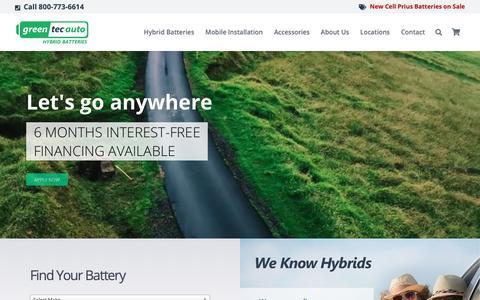 Screenshot of Home Page greentecauto.com - Hybrid Battery Replacement Shop: Honda, Toyota, other hybrids - captured Sept. 30, 2018