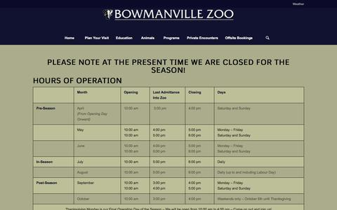 Screenshot of Hours Page bowmanvillezoo.com - Bowmanville Zoo |   Hours of Operation - captured Feb. 8, 2016