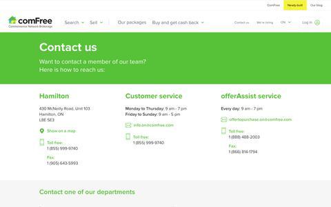 Screenshot of Contact Page comfree.com - Contact ComFree customer service in Ontario | ComFree - captured June 24, 2017