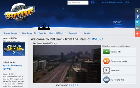 Screenshot of Home Page rifftrax.com - RiffTrax = The MST3K 'Mystery Science Theater 3000' stars today! - captured Jan. 15, 2015