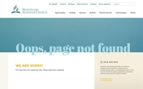 Screenshot of Menu Page adventist.org - Oops, page not found: The Official Site of the Seventh-day Adventist world church - captured April 21, 2016
