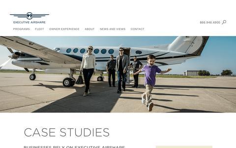 Screenshot of Case Studies Page execairshare.com - Executive AirShare - captured Nov. 14, 2016