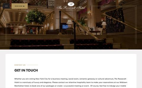 Screenshot of Contact Page theroosevelthotel.com - Find Contact Information for The Roosevelt Hotel in New York City - captured Nov. 7, 2018