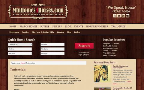 Screenshot of Testimonials Page mtnhomes4horses.com - Testimonials - Mountain Homes 4 Horses - captured Oct. 27, 2014